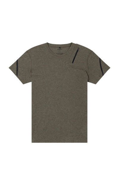 Introspection - Shoulder Zip Pocket Short Sleeve in Olive Green