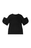 Luminous - Ruffle Sleeve Sweatshirt Tunic in Black