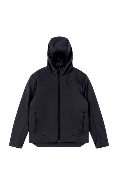 Inquisitive - Padded Hood Jacket in Black