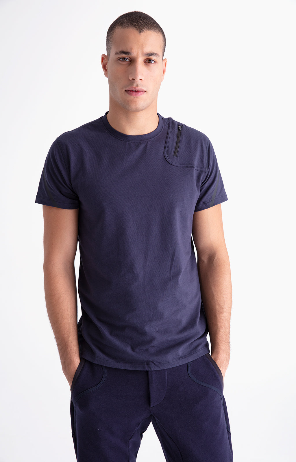 Introspection - Shoulder Zip Pocket Short Sleeve in Navy