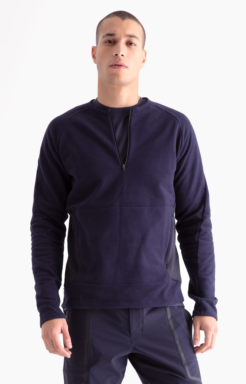 Impulse - Zip-front Traveler's Knit Pullover in Dark Blue