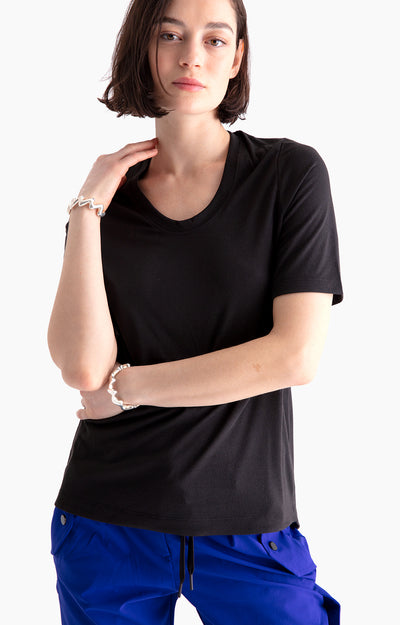 Dignity - Pique Scoop-Neck Tee in Black Heather
