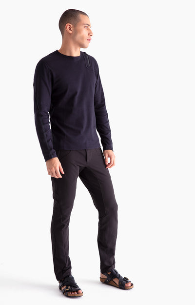 Artist - Zip Pocket Cotton Long Sleeve in Dark Black