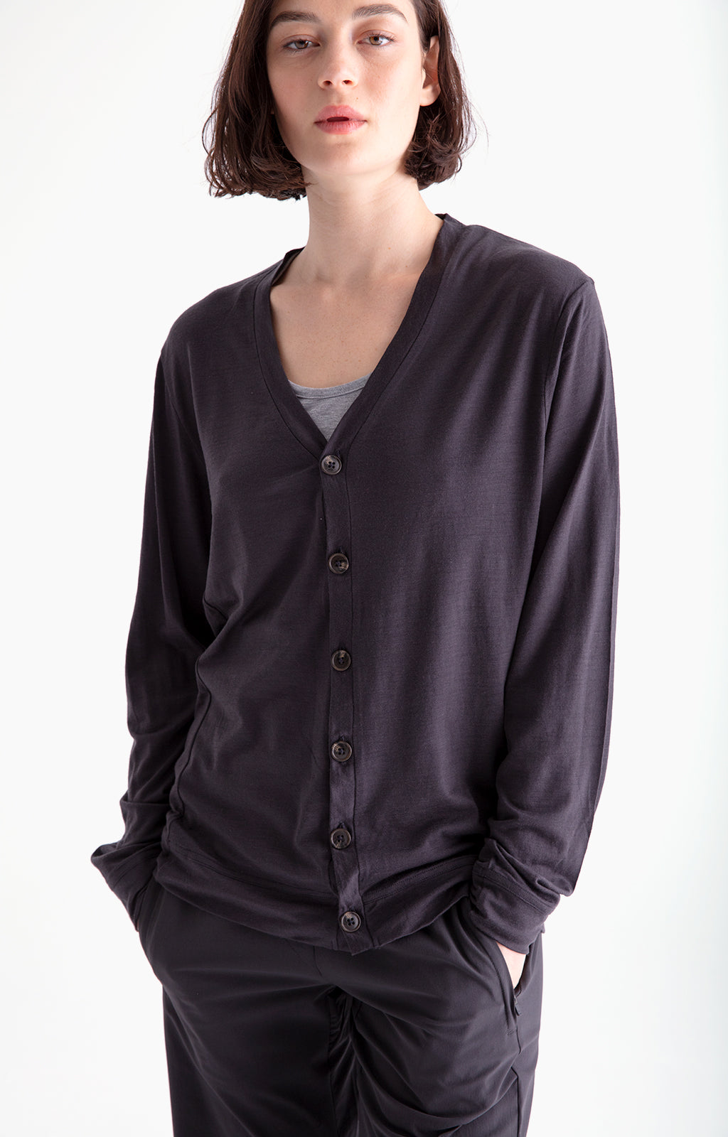 Monastic - Merino Travel Cardigan in Charcoal