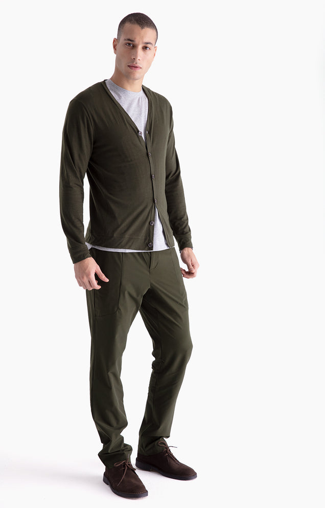 Urban -Two-In-One Zip Pocket Pants in Dark Green