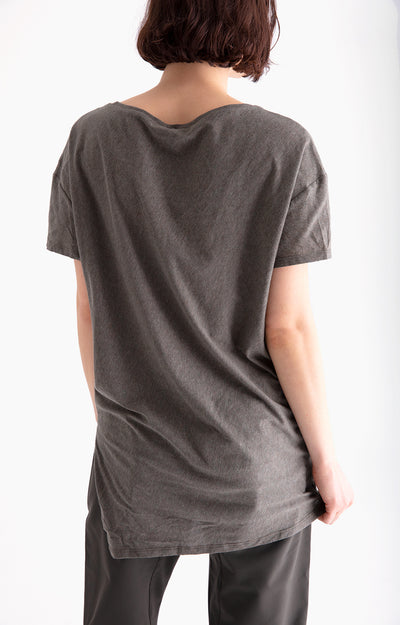 Simple Opulence - Long Slouchy Comfy Asymmetric Tee in Olive Green