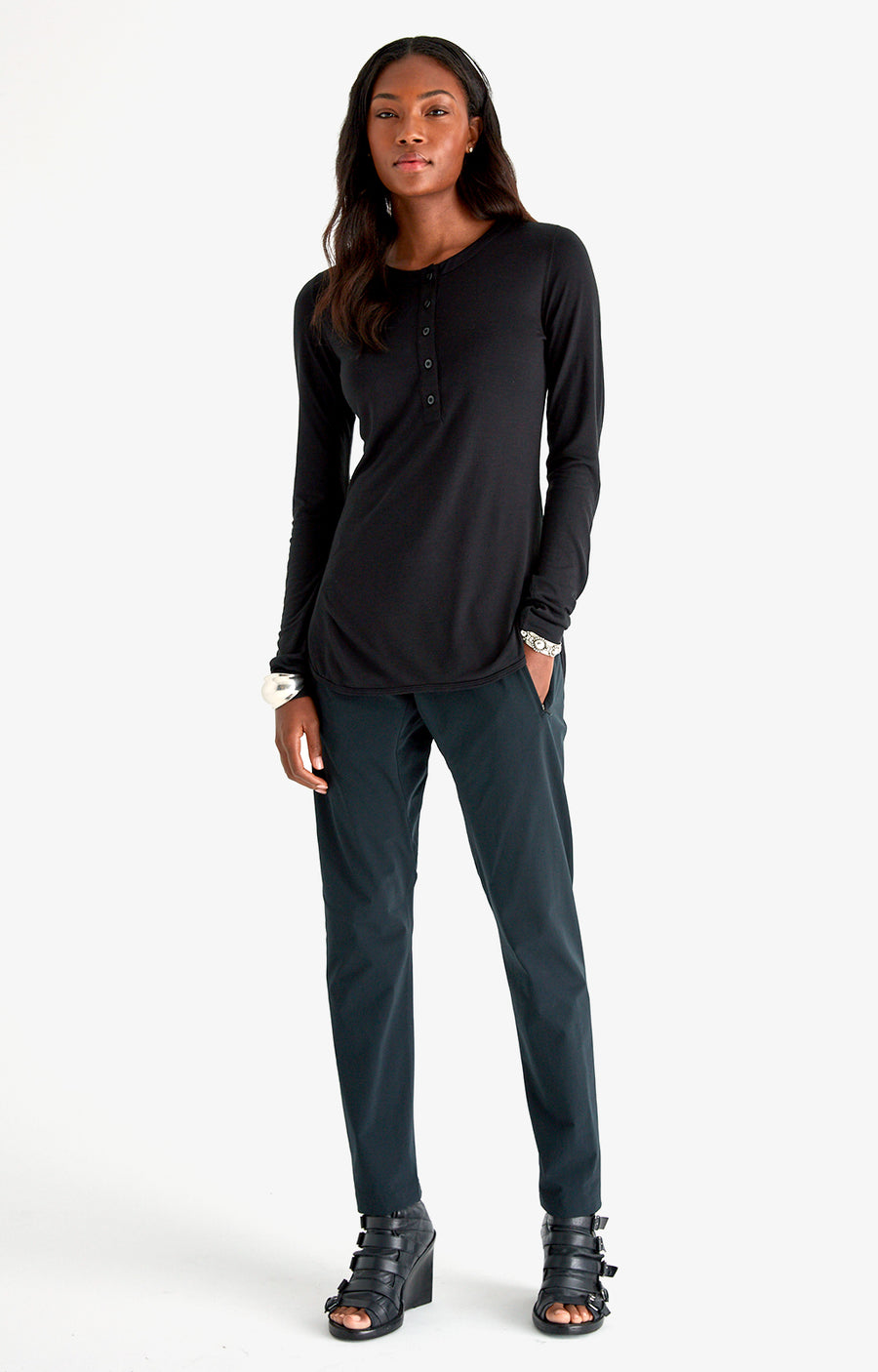 Eloquent - Sensually Soft Silk Knit Travel Henley in Black