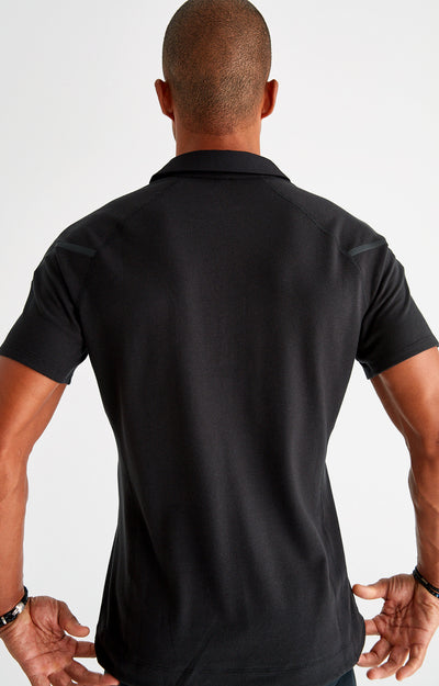 Voyager - Travel Tech Piqué Polo in Black