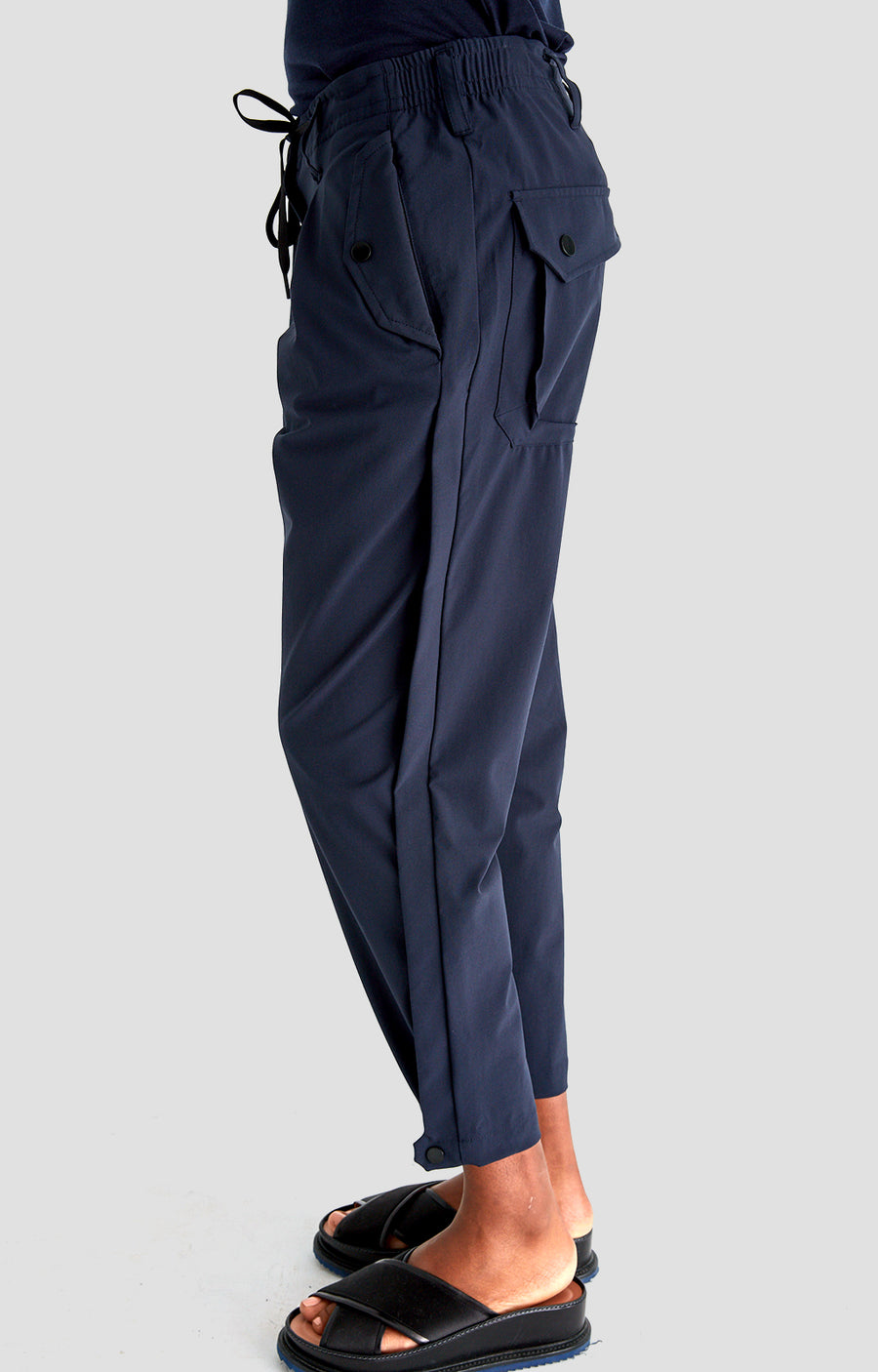 Sanctuary - Cropped Pleated Stretch-Tech Pants in Navy