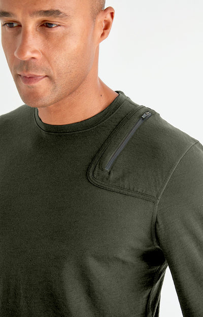 Artist - Merino Zip Pocket Long Sleeve in Green
