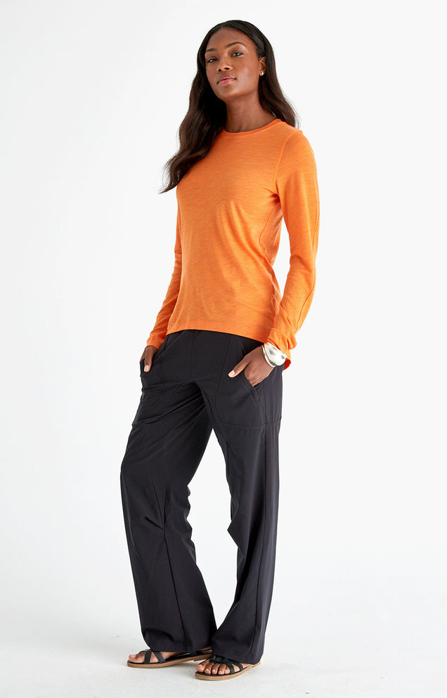 Charm - Sensual Merino Long Sleeve Travel Tee in Orange