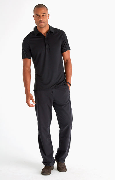 Innovator - Luxurious Merino Silk Travel Polo in Black