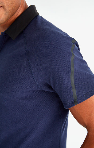 Voyager - Travel Tech Piqué Polo in Navy