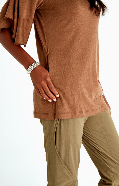 Luminous - Ruffle Sleeve Merino Tunic in Coffee