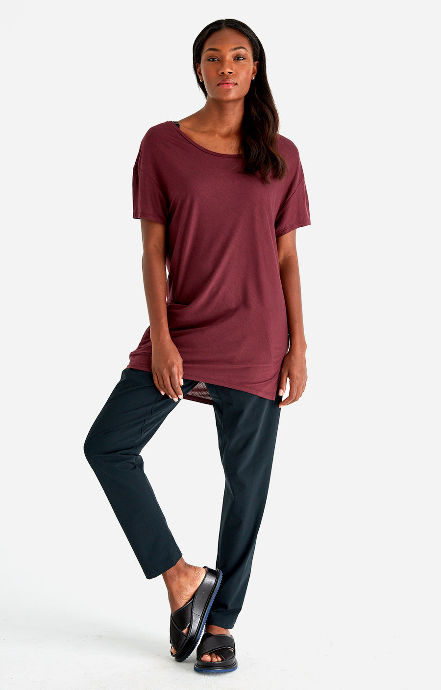 Cherished - Sensual Slouchy Silk Tunic in Deep Plum