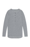 Eloquent - Sensually Soft Knit Travel Henley in Grey Heather