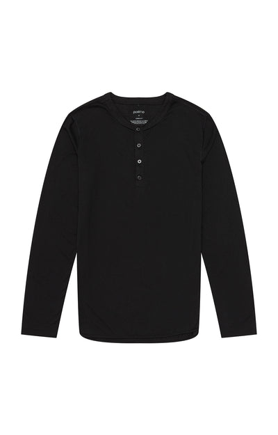 Curiosity - Lux Tech Henley in Black Heather