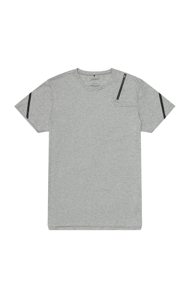 Introspection - Shoulder Zip Pocket Short Sleeve in Grey Melange