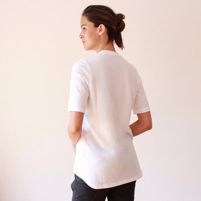 Dignity - Pique Scoop-Neck Tee in White