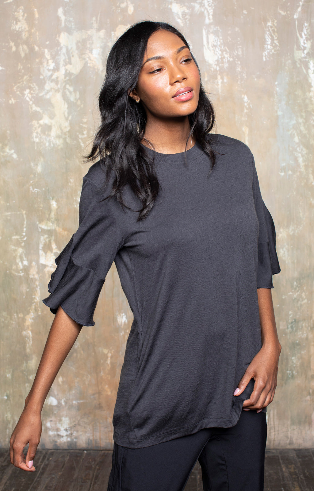 Luminous - Ruffle Sleeve Merino Tunic - Charcoal