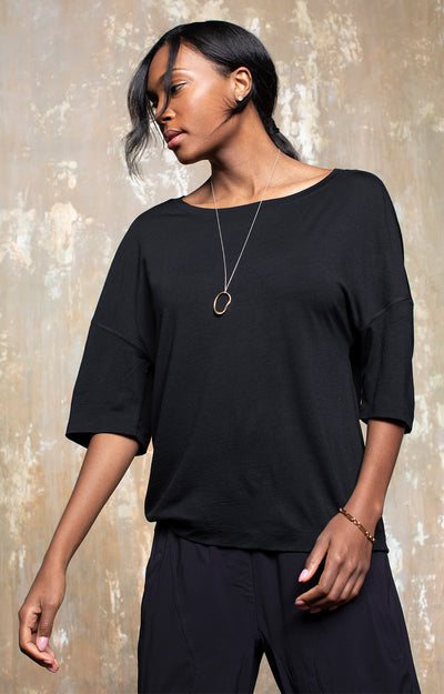 Integrity - Luxe Slouchy Merino Tee in Midnight Black