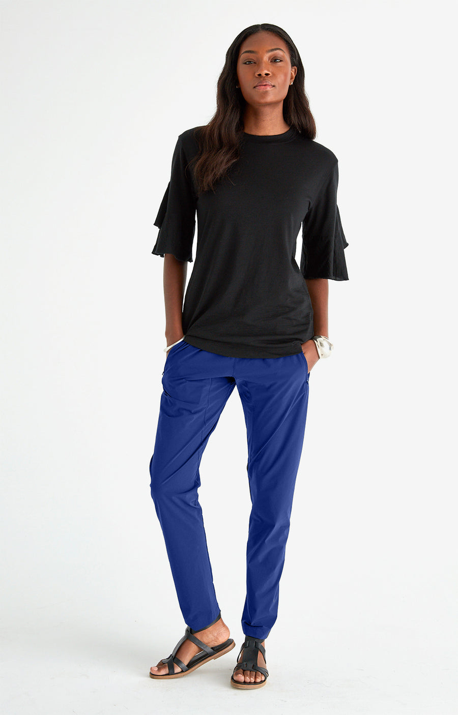Harmonious - Relaxed Elegance and Comfort Travel Pants in NEW BLUE