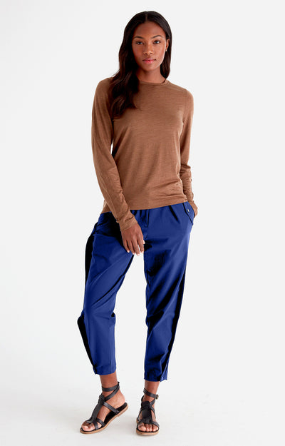 Sanctuary - Cropped Pleated Stretch-Tech Travel Pants in New Blue