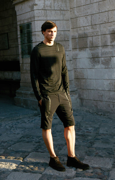 Genius - Two-In-One Zip Pocket Travel Shorts in Black
