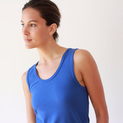 Oasis - Long Cut Pique Tank in Blue
