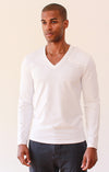 Unbounded – Zip Pocket Ultra-Soft Piqué Long Sleeve Tee White