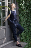 Eloquent - Sensually Soft Silk Knit Travel Henley in Navy