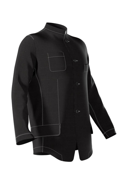 Quiet - Effortless Ease, Band Collar Stretch Jacket in Black