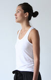 Oasis - Long Cut Pique Tank in White