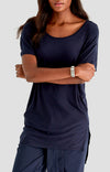 Cherished - Sensual Slouchy Silk Tunic in Navy