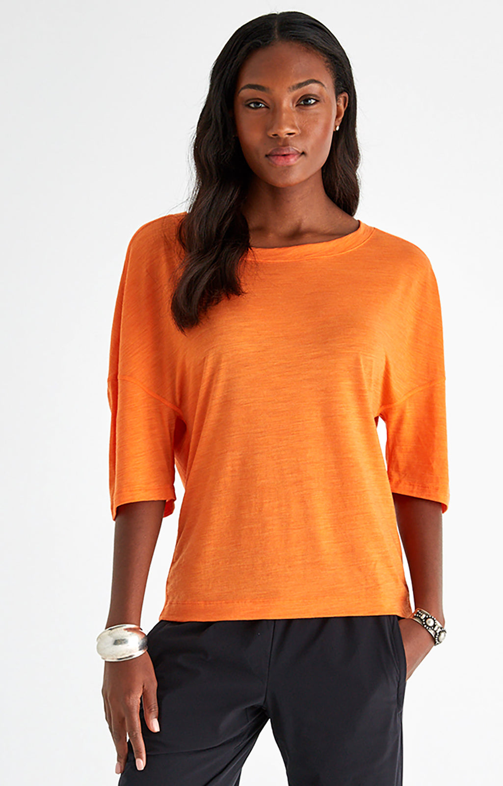 Integrity - Luxe Slouchy Merino Travel Tee in Orange