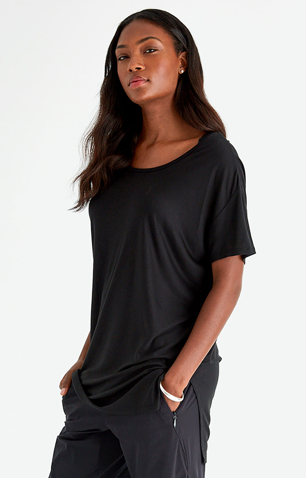 Cherished - Sensual Slouchy Silk Tunic in Black