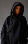 Euphoric - Cozy Hooded Cocoon Jacket in Black