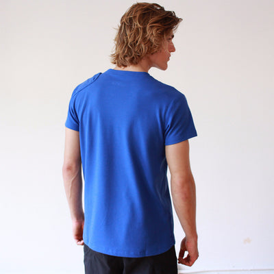 Agility - Shoulder Zip Pocket Pique Short Sleeve in Blue
