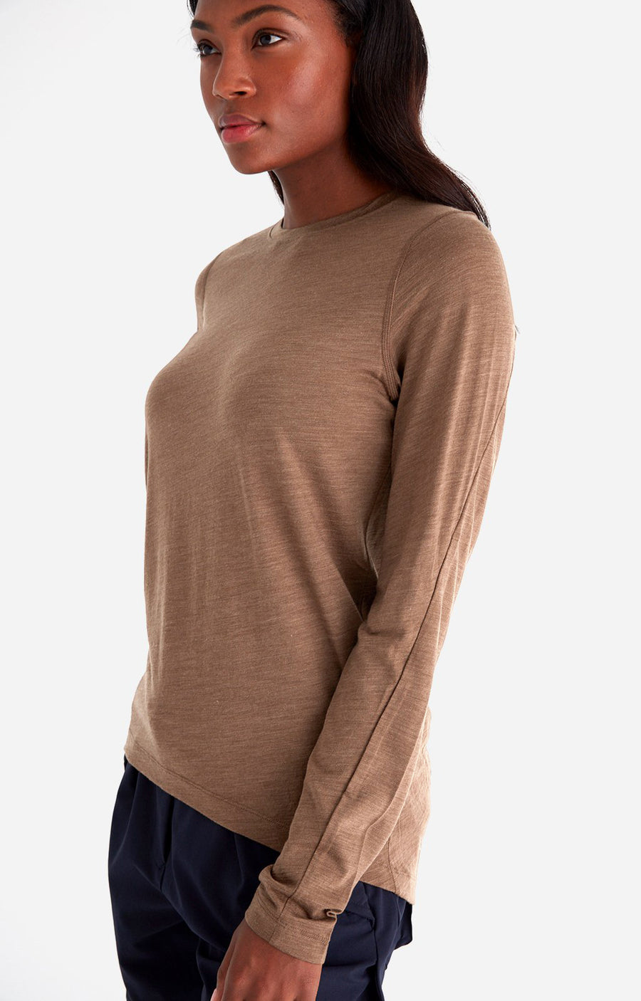 Charm - Sensual Merino Long Sleeve Travel Tee in Coffee