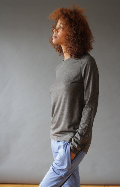 Charm - Sensual, Insanely Comfy Merino Silk Long Sleeve Tee Charcoal