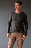 Entice – Insanely Comfortable Contoured Merino Silk Long Sleeve Tee Charcoal