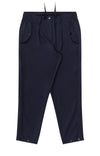 Wanderlust - Cropped Pleated Stretch-Tech Travel Trousers in Navy
