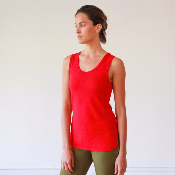 Oasis – Perfectly Cut Long Piqué TANK Red