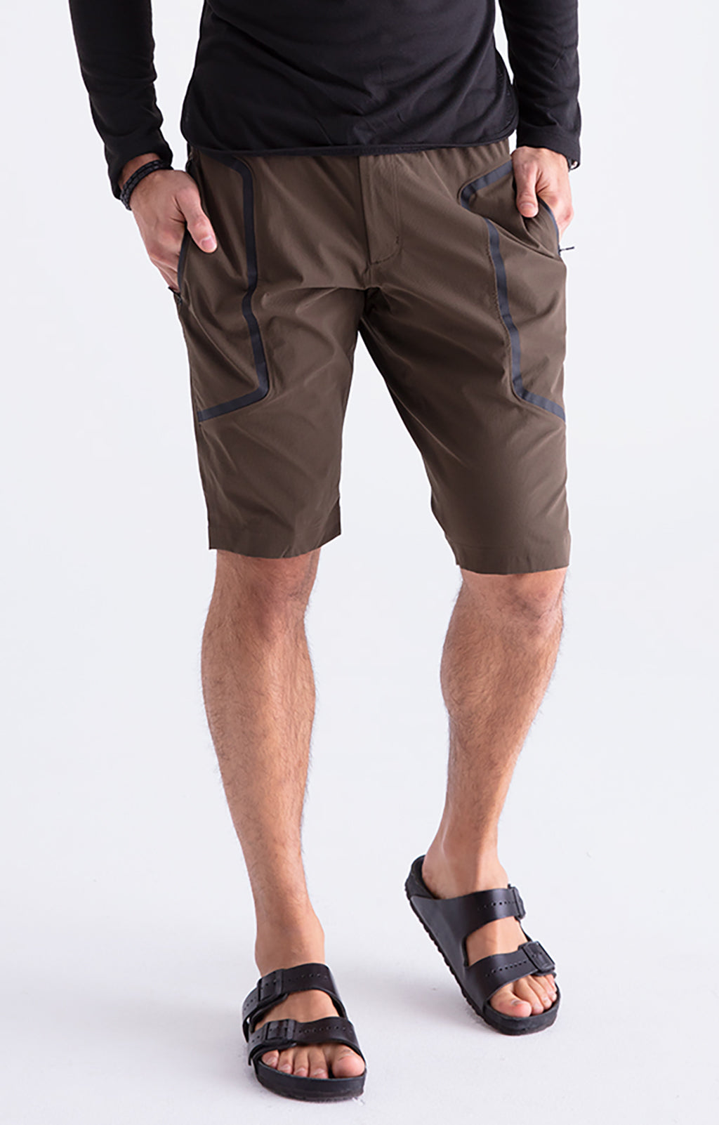 Genius - Two-In-One Zip Pocket Shorts in Dark Olive