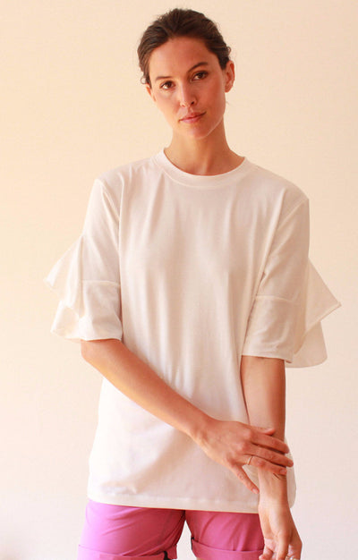 Luminous - Ruffle Sleeve Sweatshirt Tunic in White