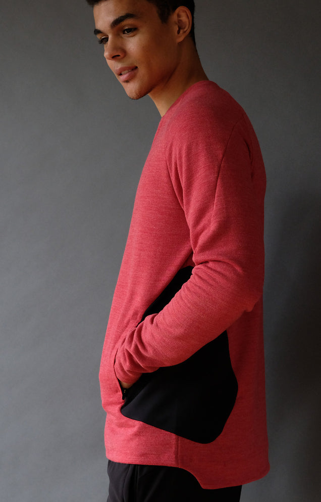 Impulse - Merino Microknit 1/4-Zip Pullover in Red