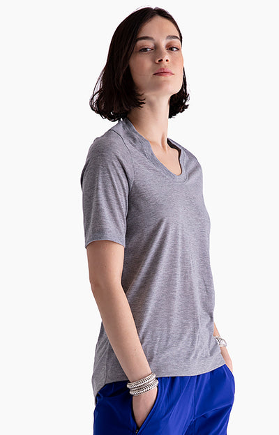 Dignity - Pique Scoop-Neck Tee in Gray Heather
