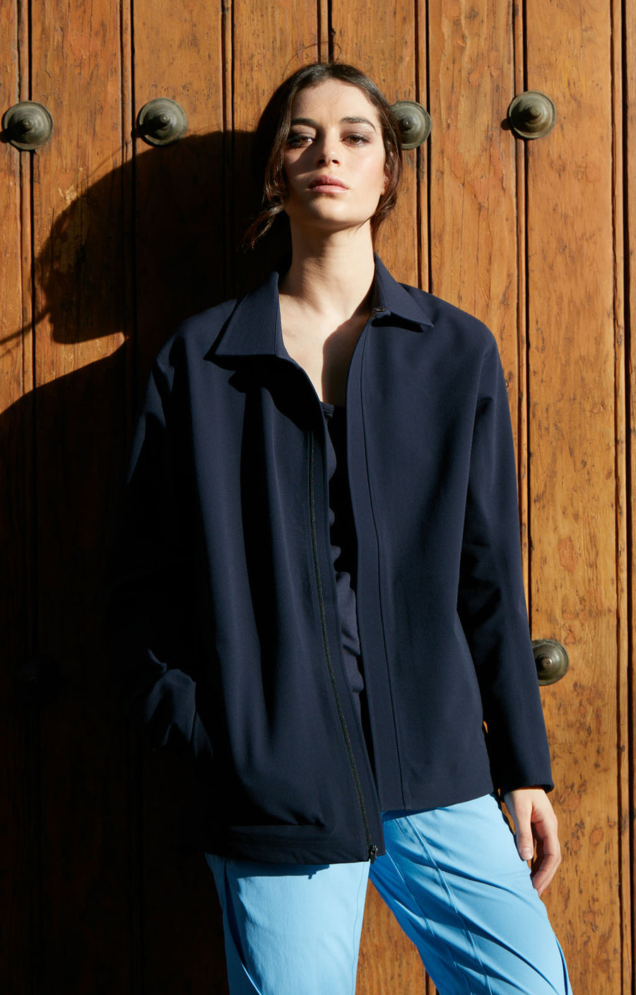 Possibility - Oversized Wool Fleece Lined Travel Jacket in Navy