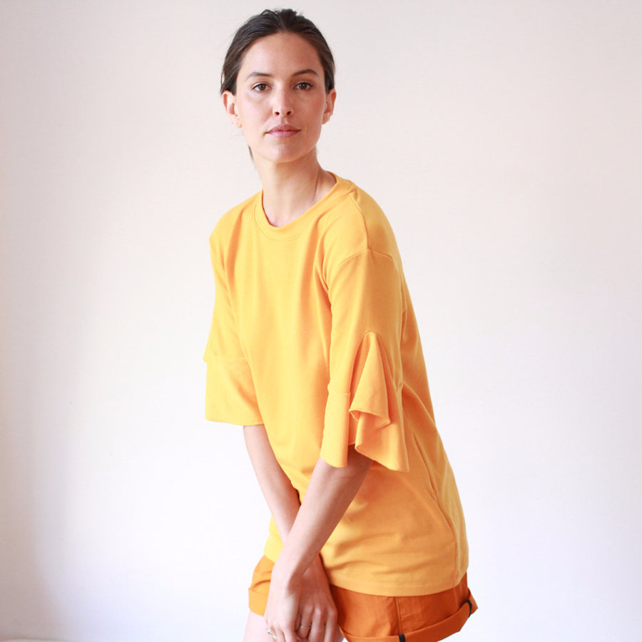 Luminous - Ruffle Sleeve Sweatshirt Tunic in Soft Yellow