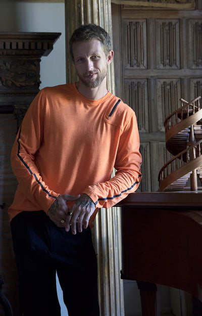 Artist - Merino Zip Pocket Long Sleeve in Orange